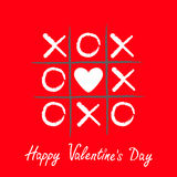 Tic tac toe game with criss cross and white heart sign mark XOXO. Hand drawn brush. Doodle line. Happy Valentines day card Flat de Royalty Free Stock Photography