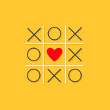 Tic tac toe game with cross and red heart sign mark in the center Love card Flat design Yellow background. Vector illustration Royalty Free Stock Photography