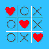 Tic tac toe game Cross and three red heart sign mark Love card Flat design Stock Photography