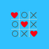 Tic tac toe game with cross and three red heart sign mark Love card Flat design Blue background Stock Photos