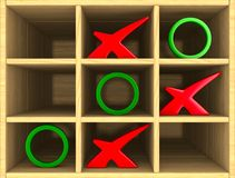 Tic tac toe game. 3D illustration Royalty Free Stock Photography