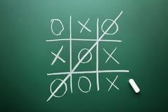 Tic tac toe game. Drawn by chalk on green school blackboard Stock Photography