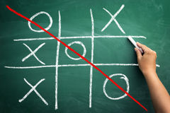 Tic tac toe game drawn on chalkboard Royalty Free Stock Photography