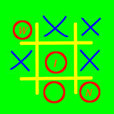 Tic Tac Toe. Game on  green background Royalty Free Stock Images