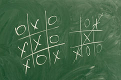 Tic tac toe game. On green school board Stock Image
