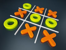 Tic tac toe game isolated on black background. 3D illustration Stock Photos