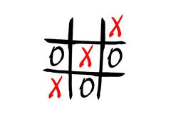 Tic Tac Toe Game. With letters, isolated on white background Royalty Free Stock Photo