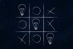 Tic tac toe game with line of lightbulbs winning. Concept of thinking outside the box and innovate Stock Images
