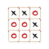 Tic-tac-toe game made of matches Royalty Free Stock Photos