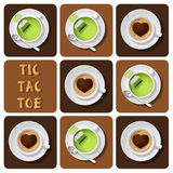 Tic-Tac-Toe of green tea and cappuccino Royalty Free Stock Photos
