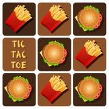 Tic-Tac-Toe of Hamburger and Fried Potatoes Stock Image