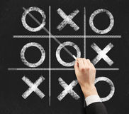 Tic tac toe. Hand drawing a game of tic tac toe on a black chalkboard Stock Photo