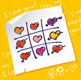 Tic Tac Toe Hearts. Valentine background Royalty Free Stock Photography