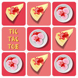 Tic-Tac-Toe of ice cream and crepe cake Royalty Free Stock Photos