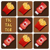 Tic-Tac-Toe of Ketchup and Fried Potatoes Royalty Free Stock Photos
