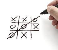 Tic tac toe leisure game mental scribble. Close up of tic tac toe leisure game Stock Photo