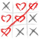 Tic tac toe love. Abstract vector illustration of a tic tac toe game Royalty Free Stock Images