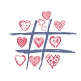 Tic Tac Toe, Love Doodle Heart, Valentines Day Royalty Free Stock Photography