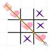 Tic-tac-toe `Love game` on the sheet sheet Royalty Free Stock Images