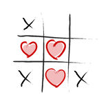 Tic Tac Toe - Love wins Stock Images
