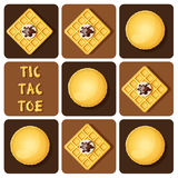 Tic-Tac-Toe of macaron and waffle Stock Images