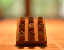 Tic Tac Toe Made de bois images libres de droits