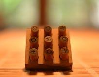 Tic Tac Toe Made van Hout royalty-vrije stock afbeeldingen
