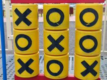 Tic tac toe noughts and crosses. Game in a park Stock Photography