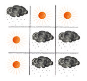 Tic-tac-toe. Noughts and Crosses game with sun and black clouds instead of  Xs and Os Royalty Free Stock Photo