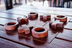Tic tac toe. Noughts and crosses table top stock photography