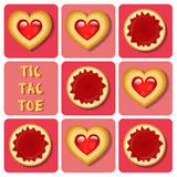 Tic-Tac-Toe of pudding and cookie Stock Images