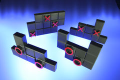 Tic Tac Toe Puzzle. On Blue Background Stock Photography