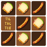 Tic-Tac-Toe of Sausage and Sandwich Stock Images