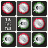 Tic-Tac-Toe of soda can or beer. Top view of soda can or beer in tic-tac-toe game Royalty Free Stock Image