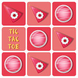 Tic-Tac-Toe of  strawberry cake ball and cake Stock Photos