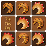 Tic-Tac-Toe of strawberry and chocolate croissant Royalty Free Stock Photos