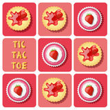 Tic-Tac-Toe of  strawberry cup cake and cracker Stock Photo