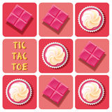 Tic-Tac-Toe of  strawberry cup cake and strawberry chocolate bar Stock Photo