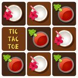 Tic-Tac-Toe of tomato juice and coconut water Royalty Free Stock Images