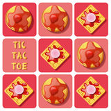 Tic-Tac-Toe of waffle and pancake Stock Images