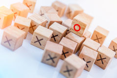 Tic tac toe XO game. Wood Toys,wooden block with x and o inside creativity ideas concept Royalty Free Stock Images