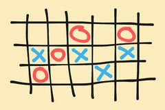 Tic-tac-toe, xs and os, noughts and crosses royalty free illustration