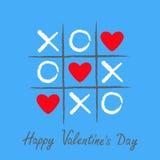 Tic tac-Zehenspiel mit criss Kreuz und rotem Zeichenkennzeichen XOXO des Herzens drei Hand gezeichnete Stiftbürste Gekritzellinie lizenzfreie abbildung