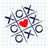 Tic tac-Zehenspiel mit criss Kreuz und rotes Herz unterzeichnen Kennzeichen XOXO Hand gezeichnete blaue Stiftbürste Gekritzellini stock abbildung