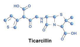 Ticarcillin is a carboxypenicillin antibiotic Stock Images