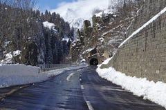 Ticino (Switzerland) - Via S. Gottardo with snow Royalty Free Stock Images