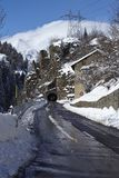 Ticino (Switzerland) - Via S. Gottardo with snow Royalty Free Stock Image