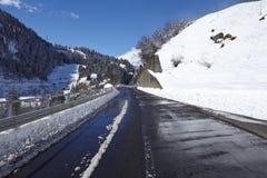 Ticino (Switzerland) - Via S. Gottardo with snow Royalty Free Stock Photography