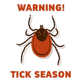 Tick's sezonu ostrzeżenia karta Zdjęcia Stock