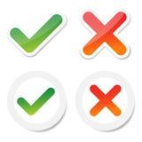 Tick And Cross Sticker Stock Image
